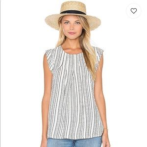 Michael Stars Seersucker Pleated Stripe Blouse